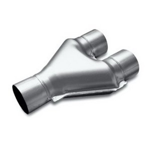 3.00 Inlet Dual 2.25 Inch Outlet 14.00 Inch OAL Length Steel Exhaust Y Pipe