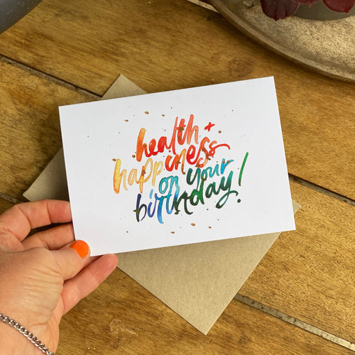 Hand Lettered colourful birthday card