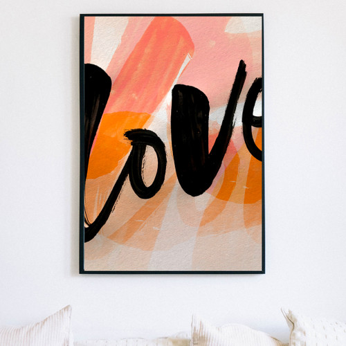 large size 'Love' print shown hanging on a wall.