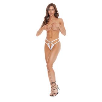 V-Thong High Waist Panties - White