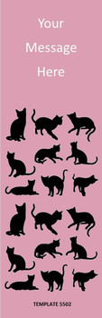 Cats Theme, Pink 2.75 x 8.5 Personalized Premium 16pt Custom Bookmarks