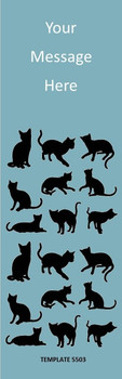 Cats Theme, Blue 2.75 x 8.5 Personalized Premium 16pt Custom Bookmarks