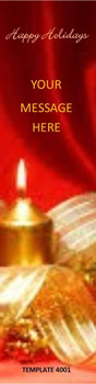 Happy Holidays, Christmas Candle Theme 2.75 x 8.5 Personalized Premium 16pt Custom Bookmarks
