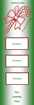 Happy Holidays, Christmas Candy Cane 2.75 x 8.5 Personalized Premium 16pt Custom Bookmarks