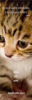 Cat Theme 2.75 x 8.5 Personalized Premium 16pt Custom Bookmarks