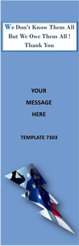 Patriotic, Support Our Troops 2.75 x 8.5 Personalized Premium 16pt Custom Bookmarks