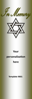 In Loving Memory, Jewish Star of David 2.75 x 8.5 Personalized Premium 16pt Custom Bookmarks