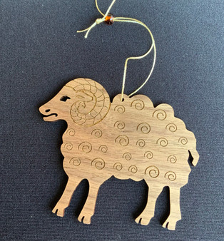 Laser wood cut ram ornament