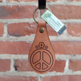 Leather key fob Peace sign
