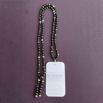 Vib and Sol Designs Black Agate Mala Necklace at Kindred Kaboodle Carlisle Pennsylvania
