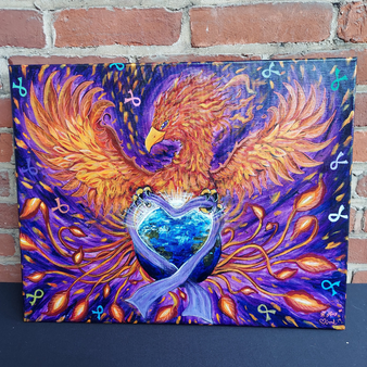 """Archtype Angle Art """"Phoenix Down"""" 16"""" x 20"""" Relay for Life at Kindred Kaboodle Carlisle Pennsylvania"""