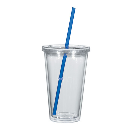 Clear Tumbler with Blue Straw