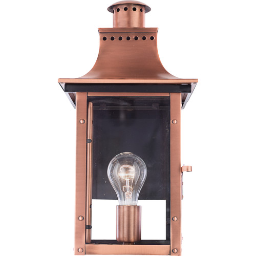Quoizel 1 Light Chalmers Outdoor Lantern in Aged Copper Finish, CM8408AC