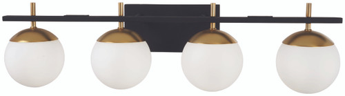 George Kovacs Alluria 4 Light Bath In Weathered Black W/Autumn Gold