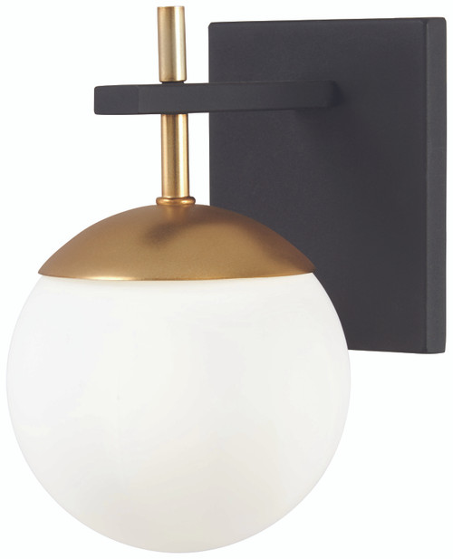 George Kovacs Alluria 1 Light Wall Sconce In Weathered Black W/Autumn Gold