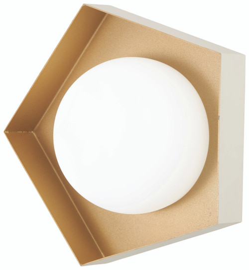 George Kovacs Five-O LED Bathroom Fixture in Textured White with Gold Leaf, P1391-044G-L