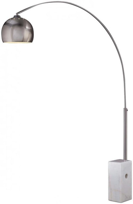 George Kovacs George's Reading Room 1 Light Arc Floor Lamp Marble Base In Brushed Nickel