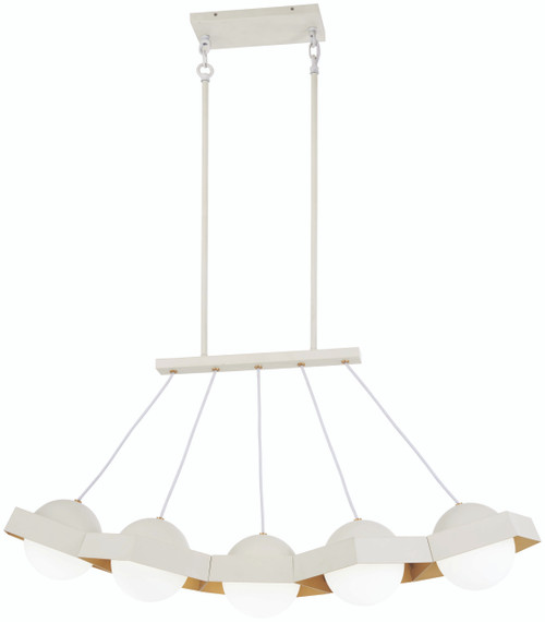 George Kovacs Five-O LED Island in Textured White with Gold Leaf, P1396-044G-L