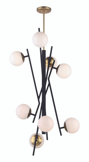 George Kovacs Alluria 8 Light LED Foyer in Weathered Black with Autumn Gold, P359-618-L