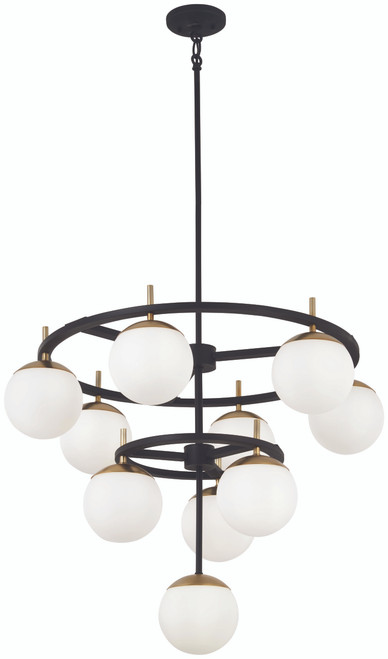 George Kovacs Alluria 10 Light Chandelier In Weathered Black W/Autumn Gold