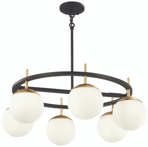 George Kovacs Alluria 6 Light Pendant In Weathered Black W/Autumn Gold