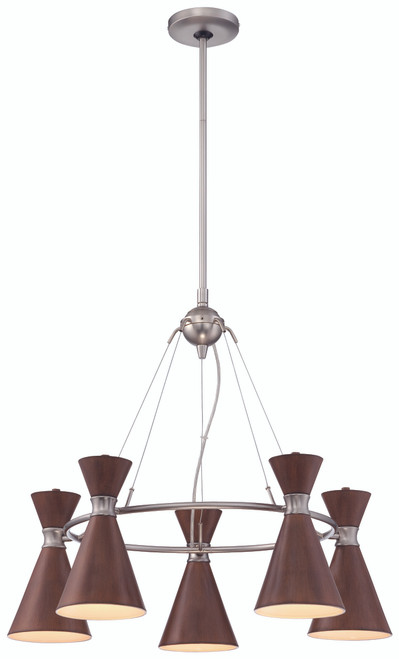 George Kovacs Conic 5 Light Chandelier In Distressed Koa