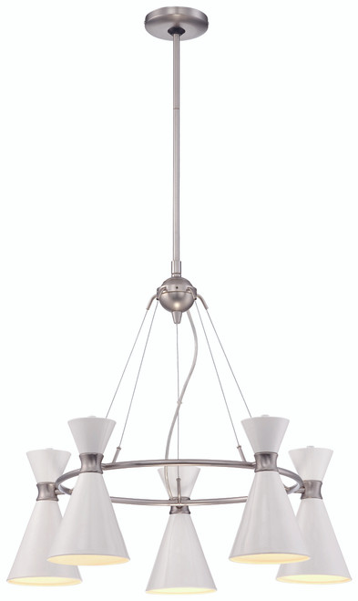 George Kovacs Conic 5 Light Chandelier In Glitter Gloss White