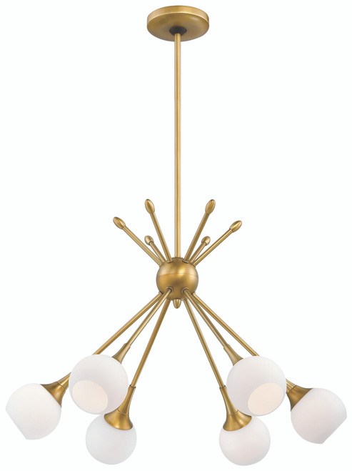 George Kovacs Pontil 6 Light Chandelier In Honey Gold