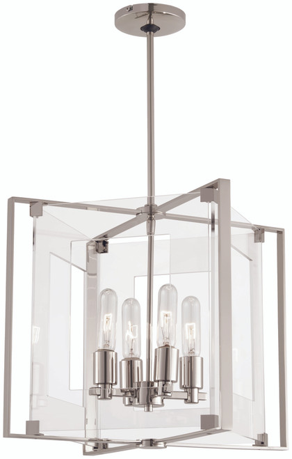 George Kovacs Crystal Clear 4 Light Pendant In Polished Nickel