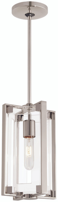 George Kovacs Crystal Clear 1 Light Mini Pendant In Polished Nickel