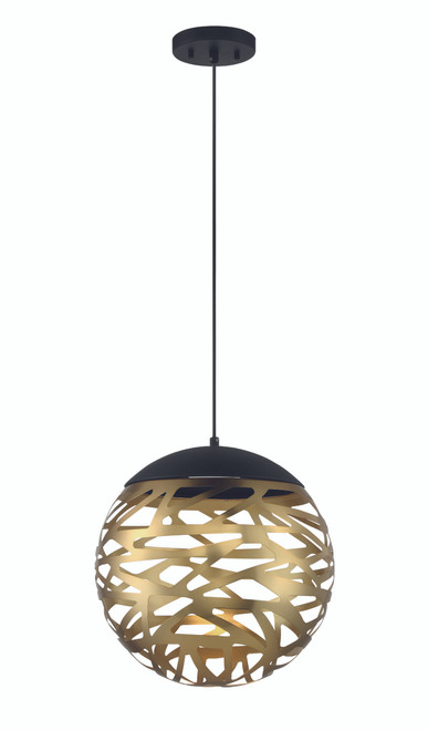 George Kovacs Led Light Pendant In Coal And Honey Gold