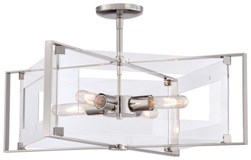 George Kovacs Crystal Clear 4 Light Semi Flush In Polished Nickel