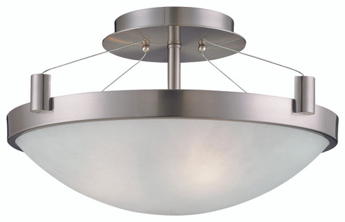 George Kovacs Suspended 3 Light Semi Flush In Brushed Nickel
