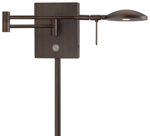 George Kovacs George's Reading Room 1 Light LED Swing Arm Wall Lamp in Copper Bronze Patina, P4338-647