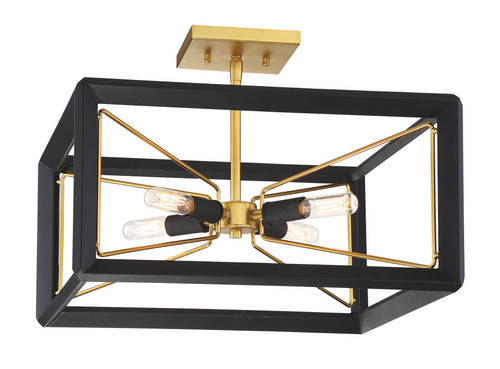 Metropolitan Collection Sable Point Collection 4 Light Semi Flush in Sand Black with Honey Gold