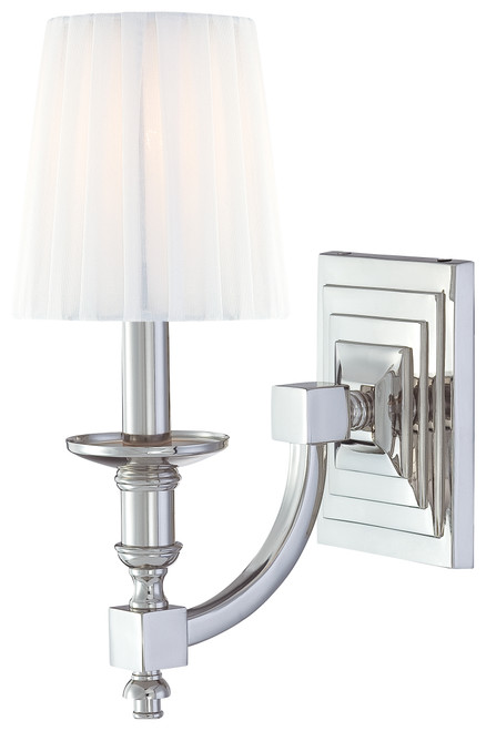 Metropolitan Continental Classics 1 Light Wall Sconce in Polished Nickel, N2641-613
