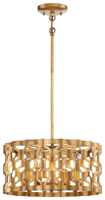 Metropolitan Coronade Collection 4 Light Pendant (Convertible To Semi-Flush in Pandora Gold Finish