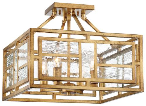 Metropolitan Edgemont Park Collection 4 Light Semi Flush in Pandora Gold
