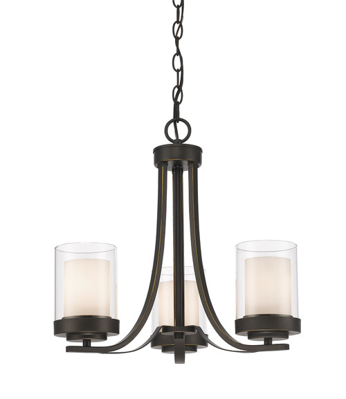 Z-Lite Willow Collection 3 Light Chandelier in Olde Bronze Finish, 426-3C-OB