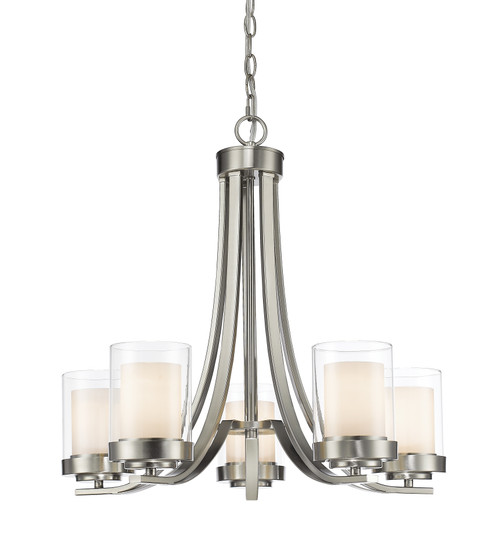 Z-Lite Willow Collection 5 Light Chandelier in Brushed Nickel Finish, 426-5-BN