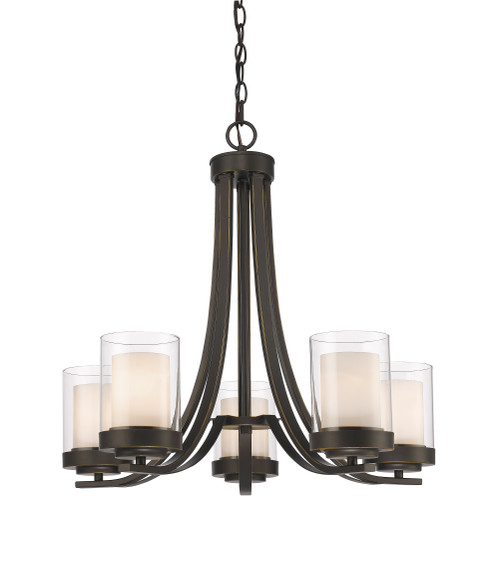 Z-Lite Willow Collection 5 Light Chandelier in Olde Bronze Finish, 426-5-OB