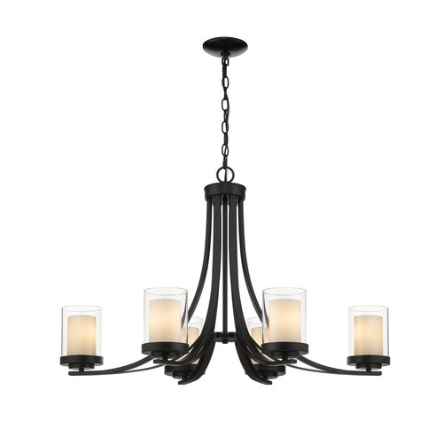 Z-Lite Willow Collection 6 Light Chandelier in Matte Black Finish, 426-6-MB