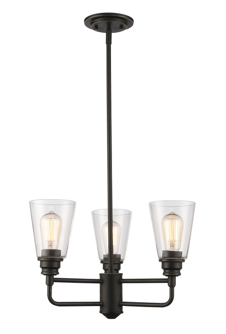 Z-Lite Annora Collection 3 Light Chandelier in Olde Bronze Finish, 428-3-OB