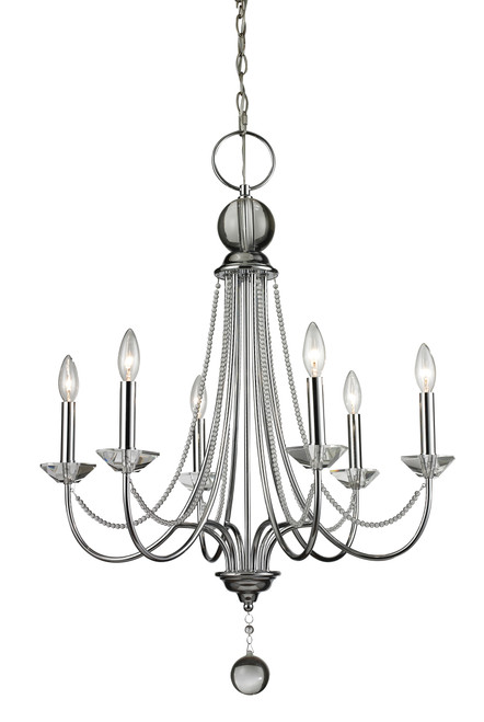 Z-Lite Serenade Collection 6 Light Chandelier in Chrome Finish, 429-6-CH