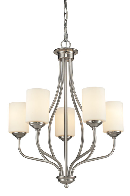 Z-Lite Cardinal Collection 5 Light Chandelier in Brushed Nickel Finish, 434-5-BN
