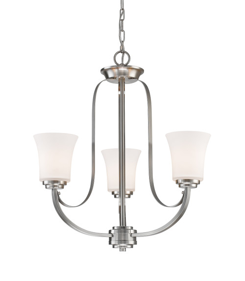 Z-Lite Halliwell Collection 3 Light Chandelier in Brushed Nickel Finish, 7000-3BN
