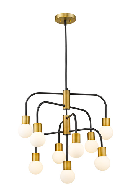 Z-Lite Neutra Collection 9 Light Chandelier in Matte Black + Foundry Brass Finish, 621-9MB-FB