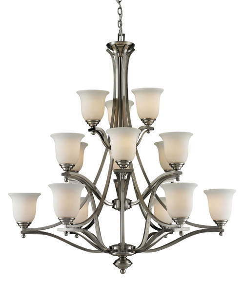 Z-Lite Lagoon Collection 15 Light Chandelier in Brushed Nickel Finish, 704-15-BN
