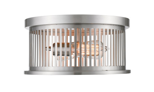 Z-Lite Camellia Collection 2 Light Flush Mount in Brushed Nickel Finish, 334F2BN