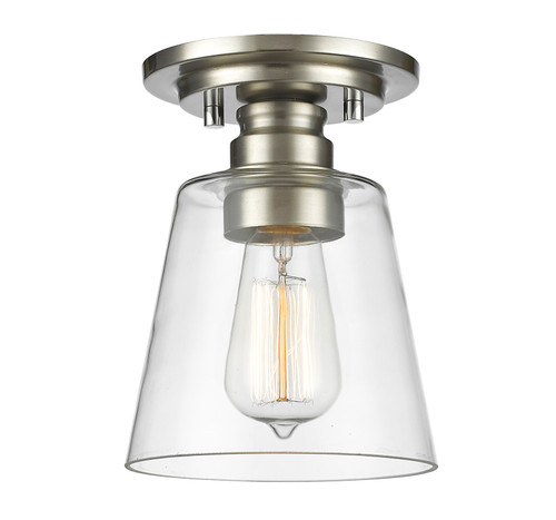 Z-Lite Annora Collection 1 Light Flush Mount in Brushed Nickel Finish, 428F1-BN